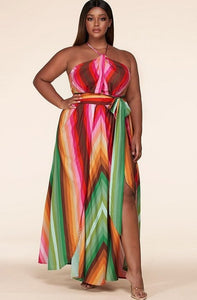 Pink Chevron Striped Twisted Front Cutout Maxi Dress