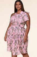 Load image into Gallery viewer, The Pink Flower Pleated Halter Maxi dress