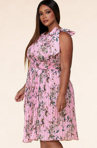 The Pink Flower Pleated Halter Maxi dress