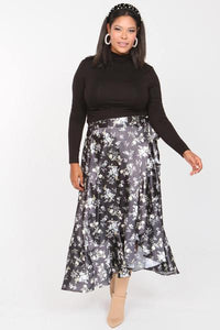 Satin Ditzy Floral Juliette Wrap Skirt