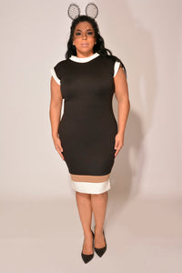 Michelle Black Color Block Dress — Christian Omeshun