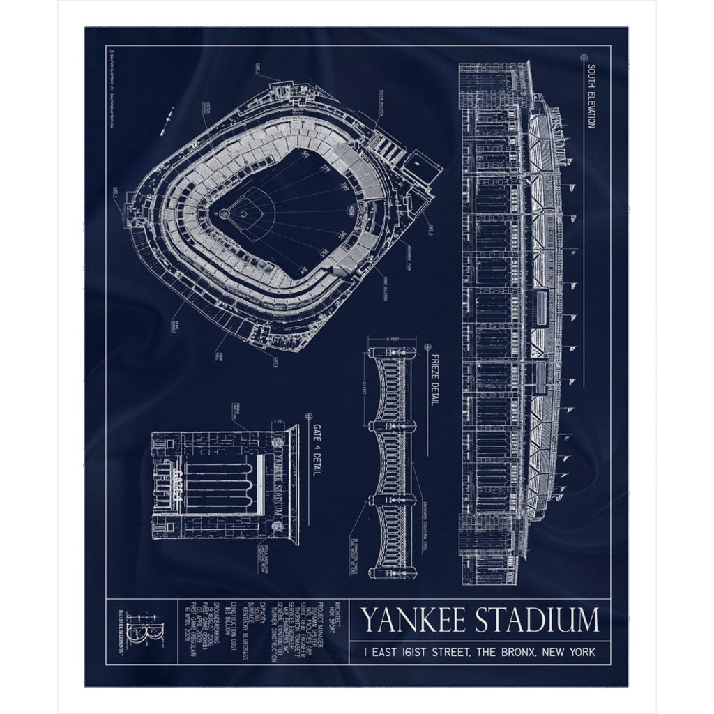 Yankee Stadium Fleece Sherpa Blanket