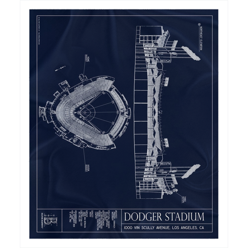 Dodger Stadium Fleece Sherpa Blanket