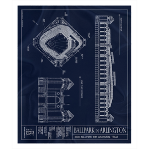 Ballpark in Arlington Fleece Sherpa Blanket