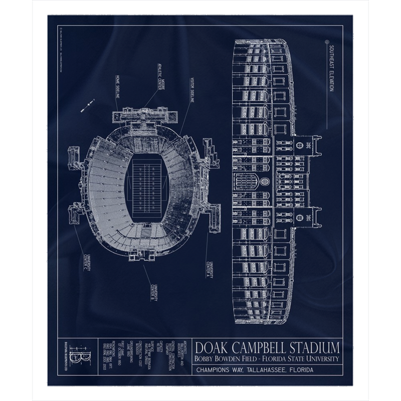 Doak Campbell Stadium Fleece Sherpa Blanket