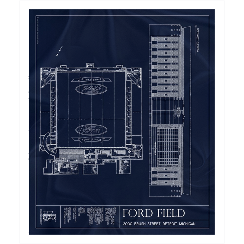 Ford Field Fleece Sherpa Blanket