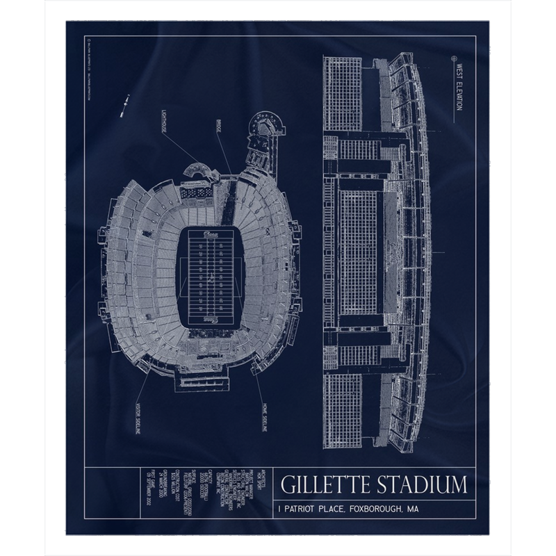 Gillette Stadium Fleece Sherpa Blanket