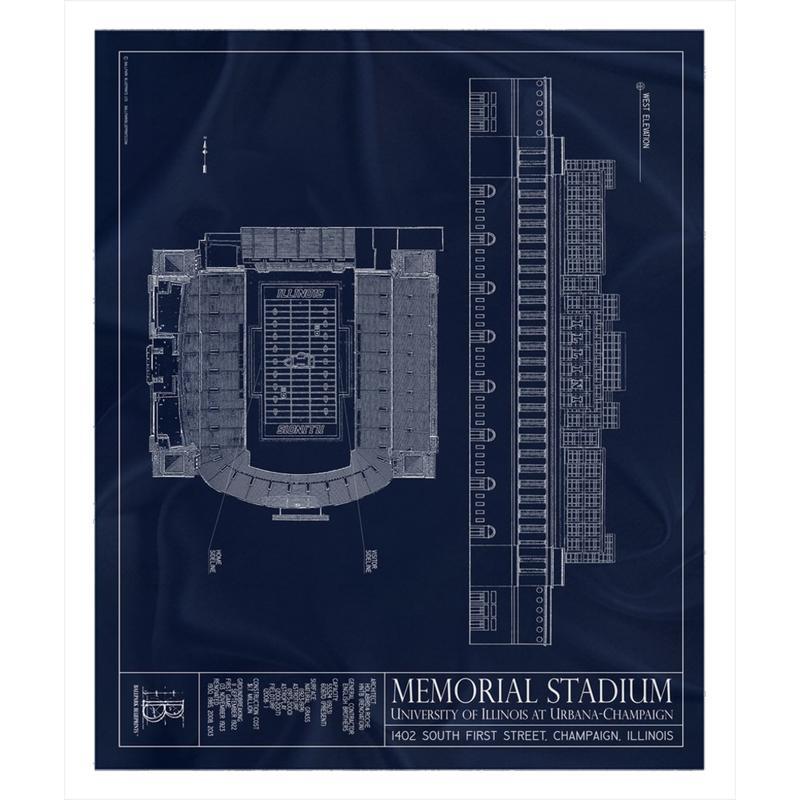 Illinois Memorial Stadium Fleece Sherpa Blanket