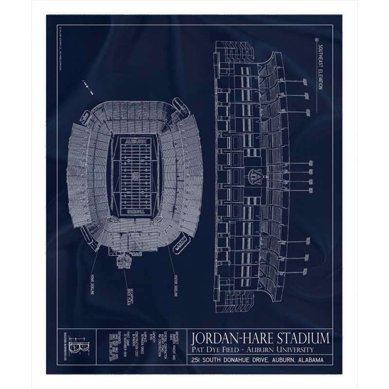 Jordan-Hare Stadium Fleece Sherpa Blanket