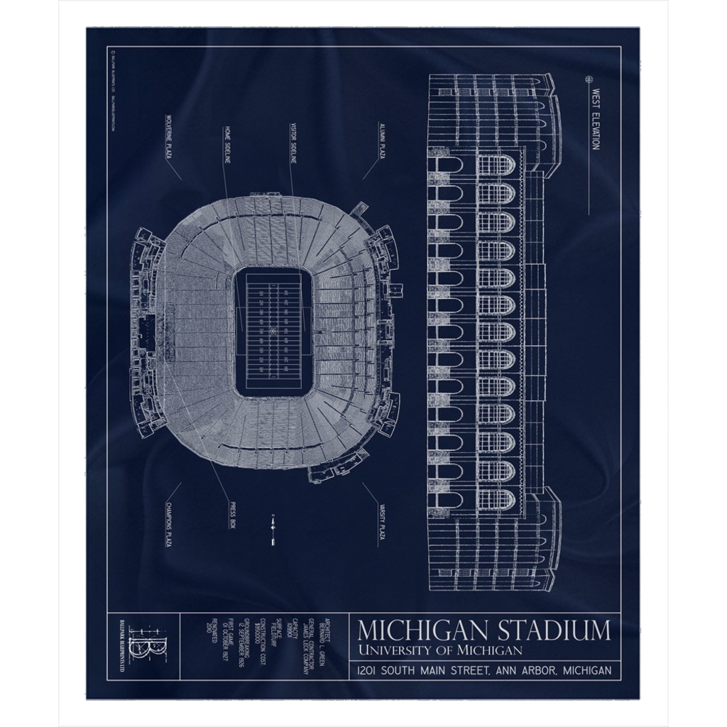Michigan Stadium Fleece Sherpa Blanket