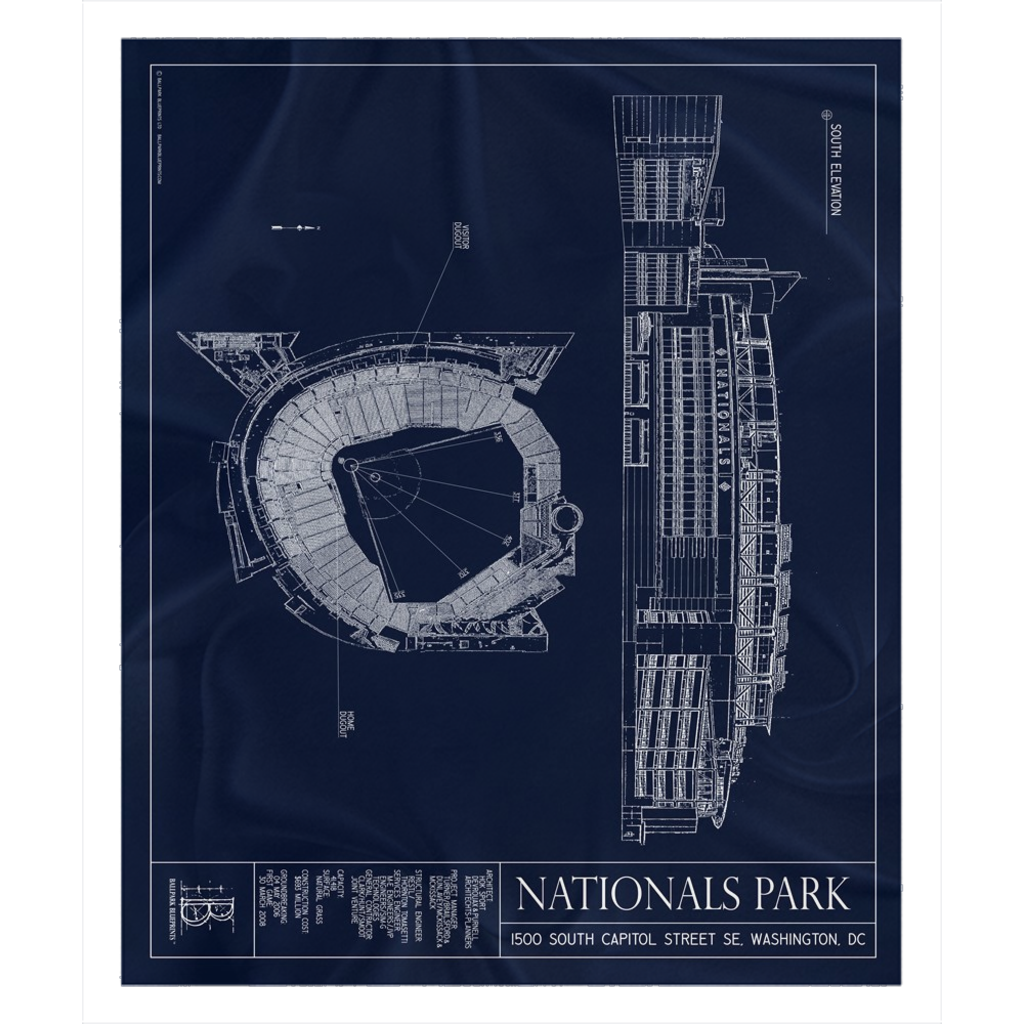 Nationals Park Fleece Sherpa Blanket