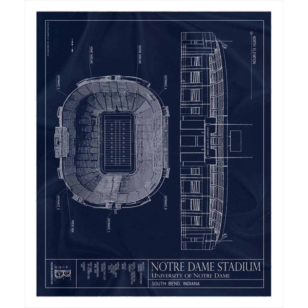 Notre Dame Stadium Fleece Sherpa Blanket