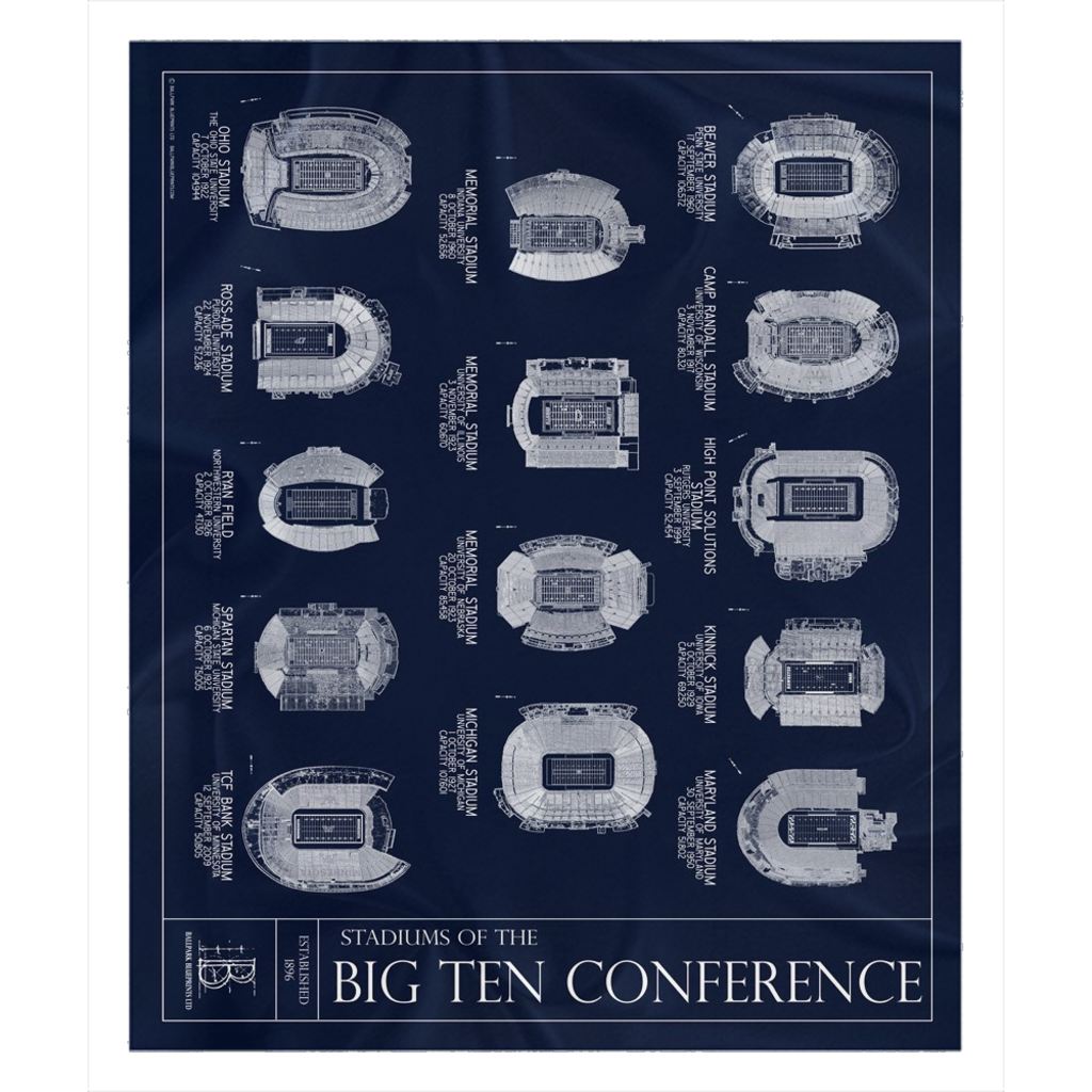 Stadiums of the Big Ten Fleece Sherpa Blanket
