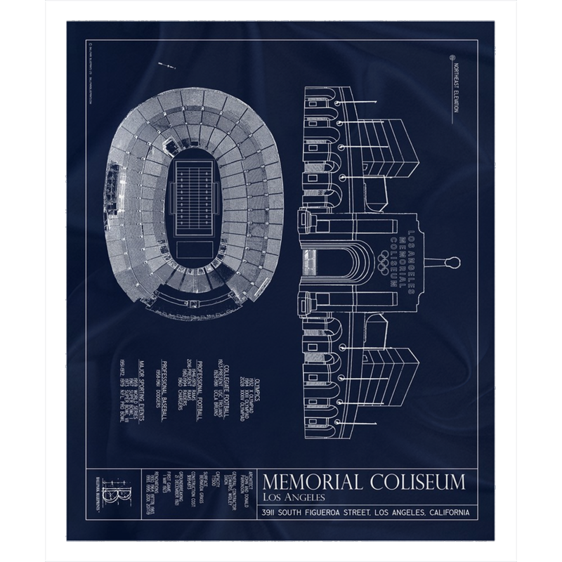 Los Angeles Memorial Coliseum Fleece Sherpa Blanket