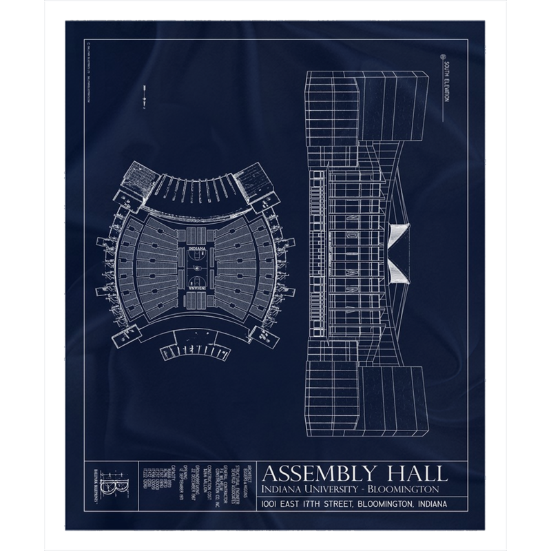 Assembly Hall Indiana Fleece Sherpa Blanket