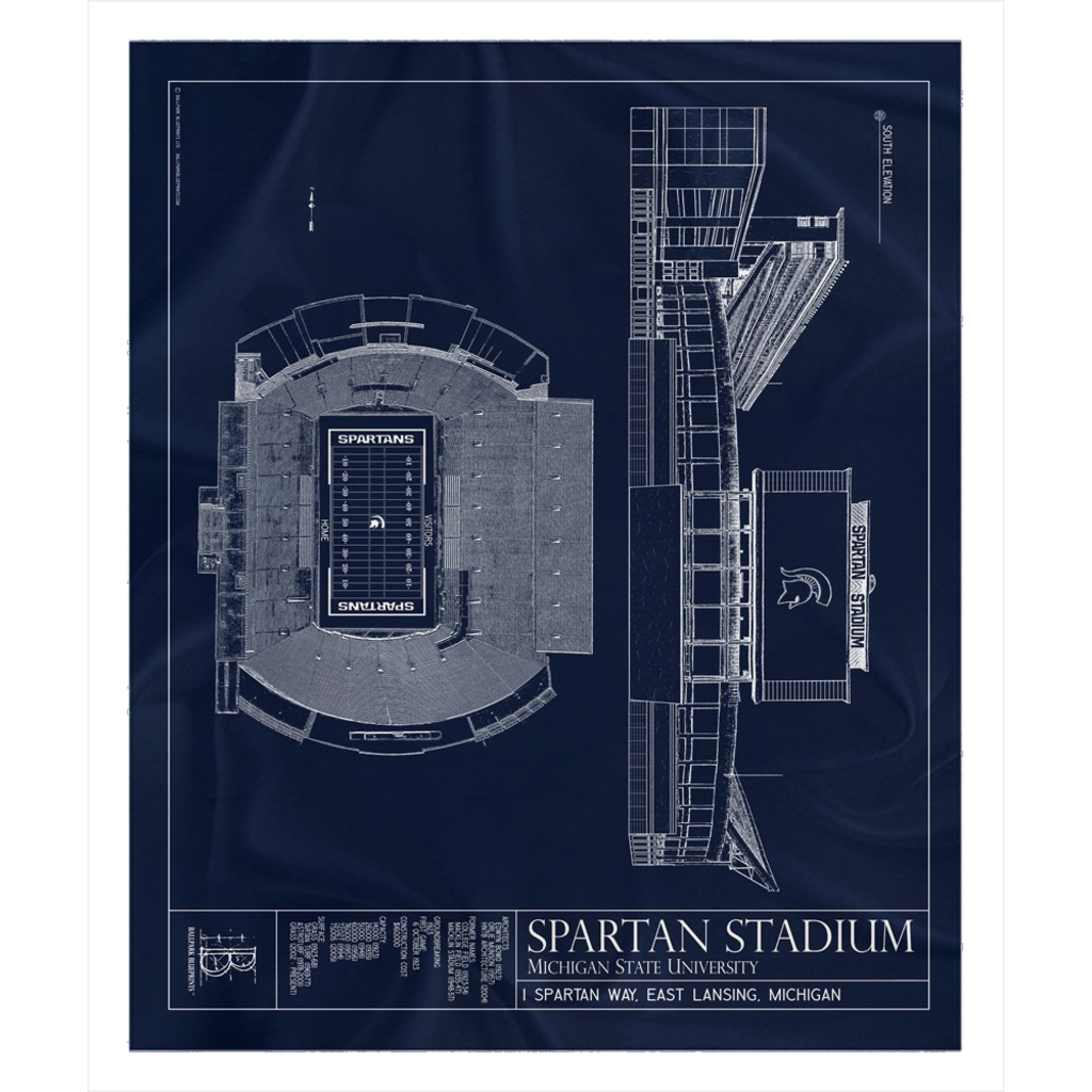 Spartan Stadium Fleece Sherpa Blanket