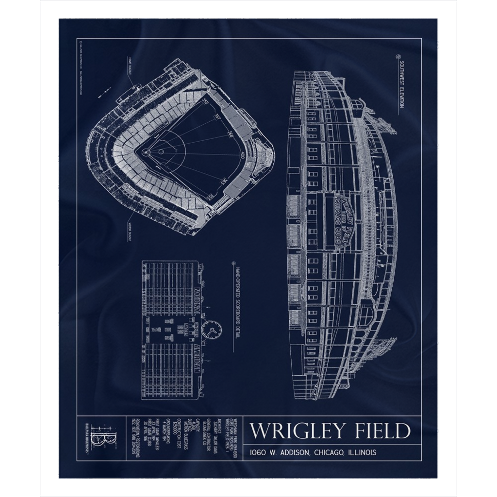Wrigley Field Fleece Sherpa Blanket