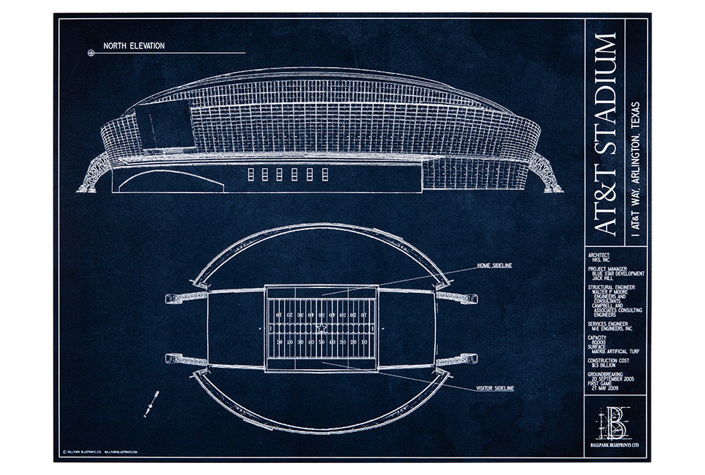 Att stadium dallas cowboys cowboys fan gifts ballpark blueprints give this unframed dallas cowboys stadium blueprint as a gift to the man in your life malvernweather Choice Image