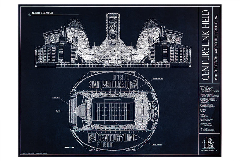 A perfect gift for dad, the unframed blueprint of Centurylong Filed is a must-have for any Seattle Seahawks fan.