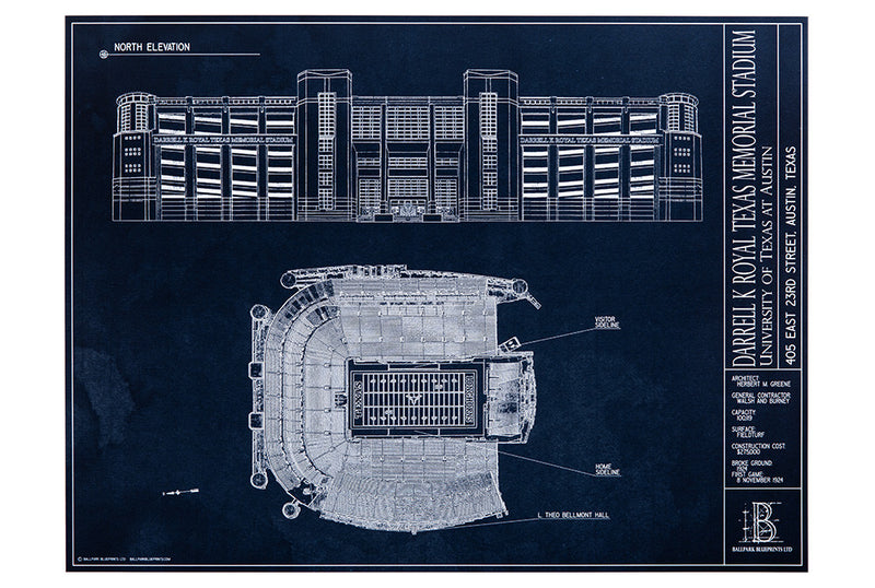 Showcase your Longhorn spirit with this unframed Darrell K Royal Memorial stadium blueprint. A unique gift for University of Texas alumni.
