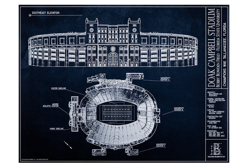 Here's a Father's day gift idea– an unframed Ballpark Blueprint of FSU's own Doak Campbell for the Seminoles fan.
