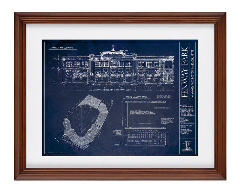 SALE - Fenway Park - Small Framed Print (Walnut)