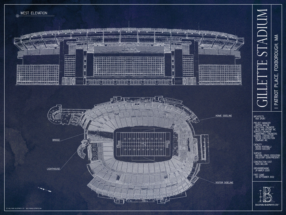 Gillette stadium new england patriots superbowl ballpark our unframed gillette stadium blueprint is a unique gift for any new england patriots fan malvernweather Choice Image