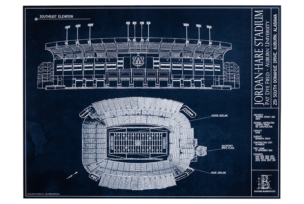 Showcase your Auburn spirit with this unframed Jordan-Hare Stadium blueprint. A perfect gift for Tigers Fan.
