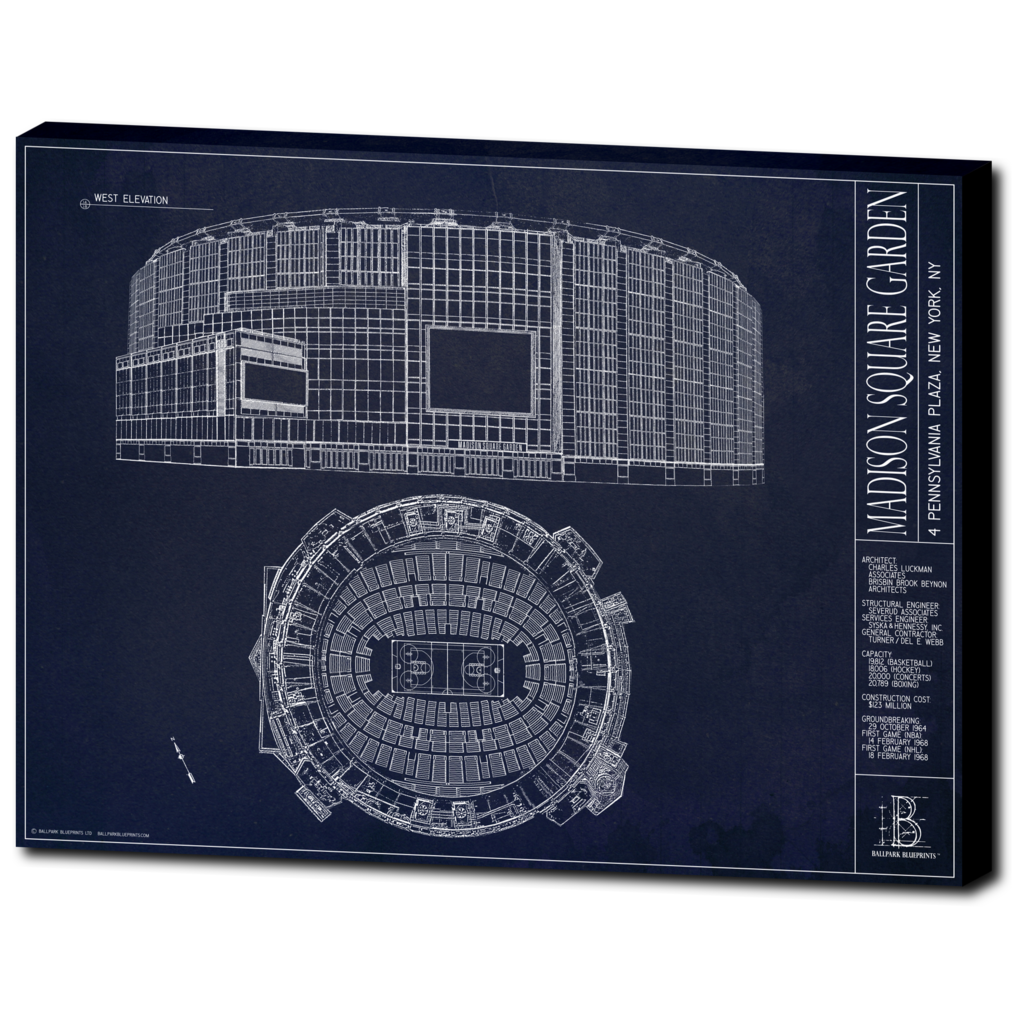 Madison Square Garden New York Knicks And Rangers Ballpark Blueprints