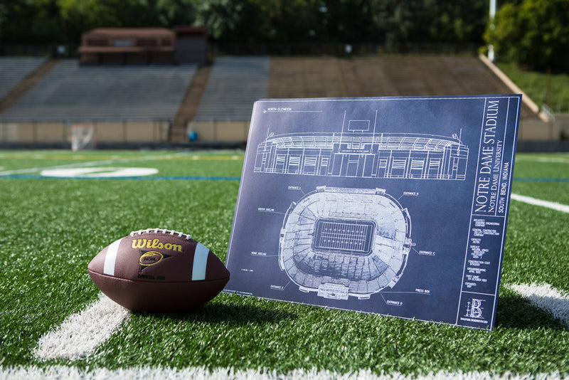 The intricately detailed Notre Dame Stadium blueprint is a great way to show Fighting Irish pride all year round.