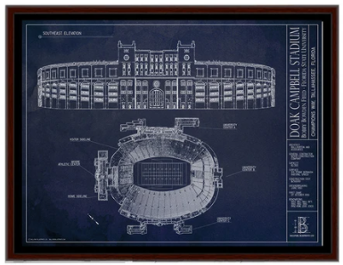 SALE - Doak Campbell Stadium - Small Framed Canvas (Walnut)