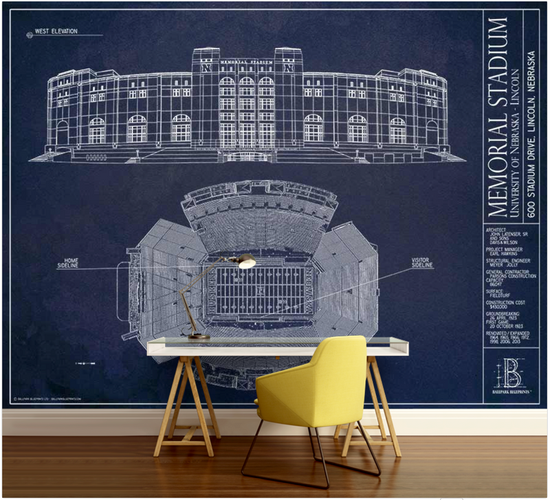 Nebraska Memorial Stadium Wall Mural