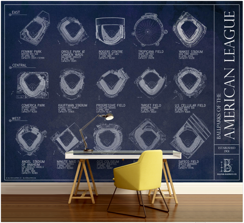 Ballparks of the American League Wall Mural