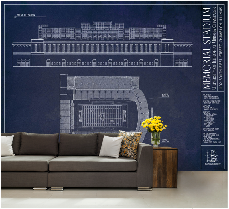 Illinois - Memorial Stadium Wall Mural