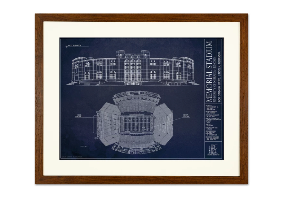 SPECIAL DEAL - Nebraska Memorial Stadium - Small Framed Print (Walnut)