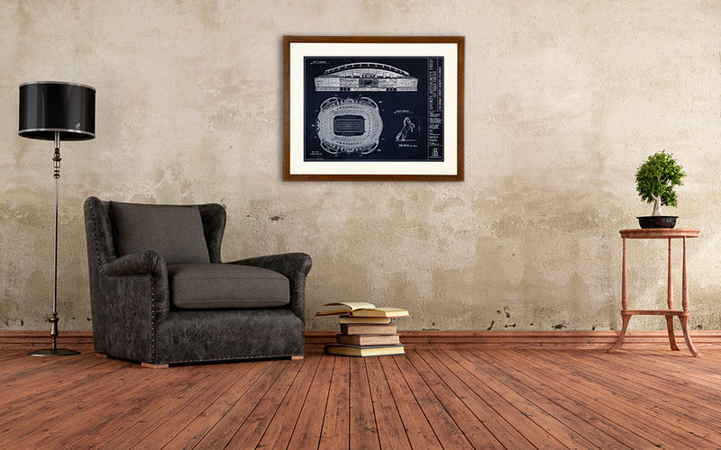 This Ballpark Blueprint of Sports Authority Field, home of the Denver Great is great way to capture the Mile High pride in your living room.