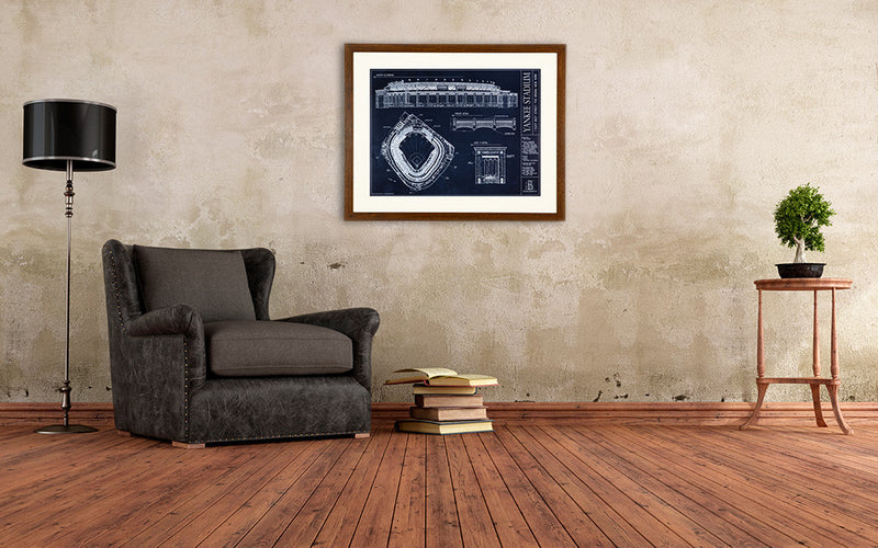 The perfect gift for any Yankee's fan, the ballpark blueprint of the Yankee Stadium is statement making.