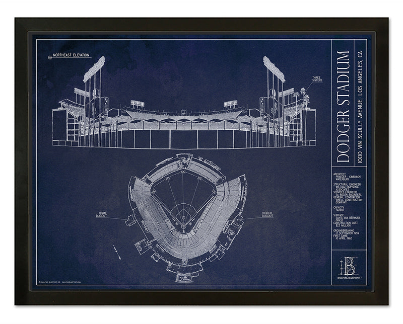 SALE - Dodger Stadium - Small Framed Canvas (Black)