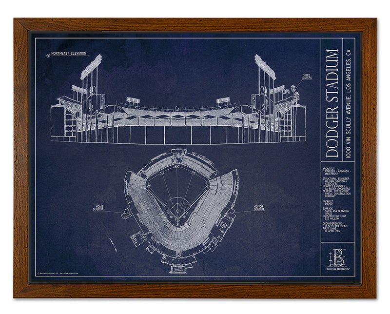 SALE - Dodger Stadium - Small Framed Canvas (Walnut)