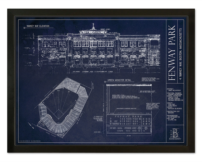 SALE - Fenway Park - Small Framed Canvas (Black)
