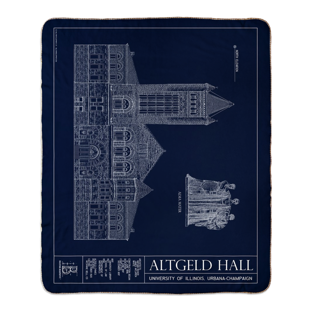 UIUC Altgeld Hall Fleece Sherpa Blanket