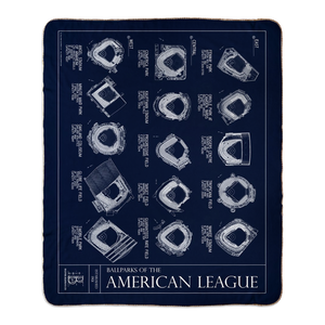 Ballparks of the American League Fleece Sherpa Blanket - updated 2020