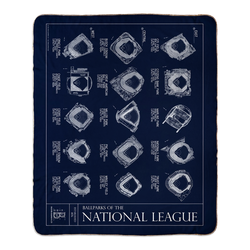 Ballparks of the National League Fleece Sherpa Blanket - updated 2020