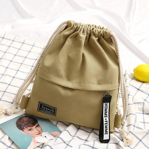 1PC New Fashion Canvas School Bags Drawstring Backpack Bag Portable Casual String Knapsack for Women Men Mochila Saco BackpacK