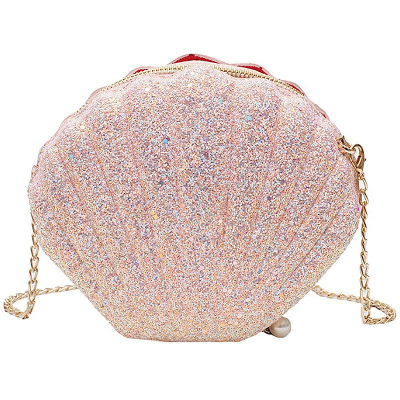 Women Girls Little Mermaid Seashell Purse Cross-Body Shoulder Bags Glitter Sequins Chain Evening Purse