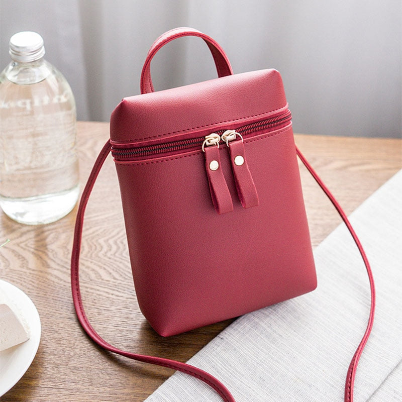 Fashion Women Crossbody Bag Shoulder Bag Messenger Bag Coin Bag Phone Bag(Red wine)