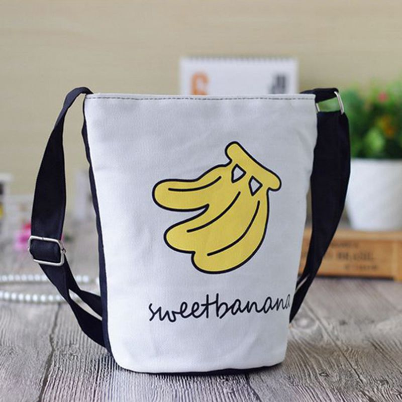 School Girls Canvas Shoulder Bag Boy Animal Banana Prints Shoulder & Crossbody Handbags