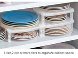 Plastic dish rack dinnerware storage organizer stackable shelf Japan style cabinet pantry space saver