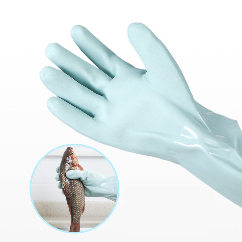 Kitchen Cleaning PVC Gloves with Warm Lining Thickened