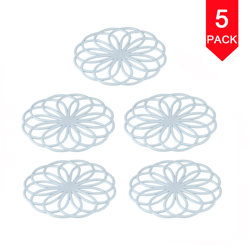 Multi-Use Flower Trivet Mat - Insulated Flexible Durable Non Slip Coasters Hot Pads 5PACK